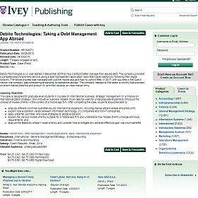 """Ivey Publishing published a case study by L. Tyll and M. Srivastava entitled """"Debito Technologies: Taking a debt management app abroad"""""""